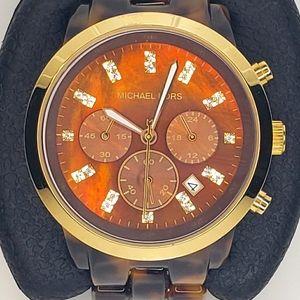 Oversized tortoise & gold Michael Kors watch